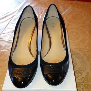 Coach Heath Patent black Lambskin Wedge size 7